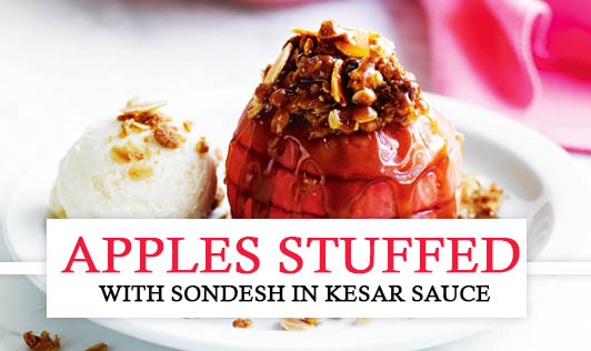 Apples Stuffed with Sondesh in Kesar Sauce