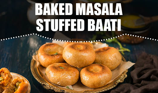 Baked masala stuffed baati