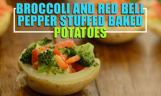 Broccoli and red bell pepper stuffed baked potatoes