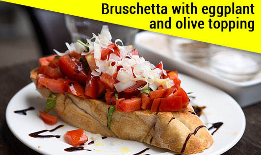 Bruschetta with eggplant and olive topping