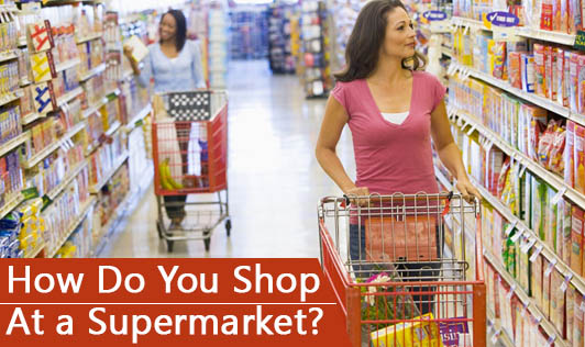 How do you shop at a supermarket?