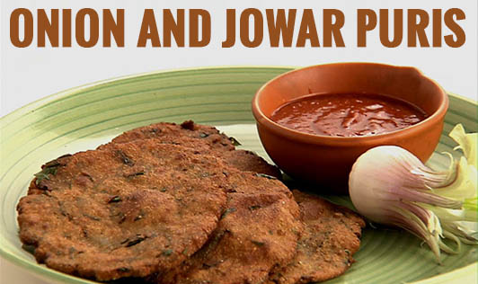 Onion and Jowar Puris