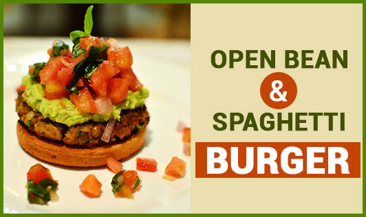 Open Bean & Spaghetti Burger