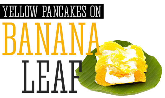 Yellow Pancakes on Banana Leaf